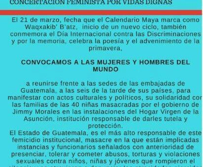 Plantón mundial por las niñas de Guatemala